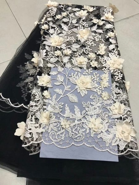 Baby white Embroidered Applique Tulle Lace Fabric Super Thin Guipure Beaded Lace Fabric African Lace Fabric With Beads