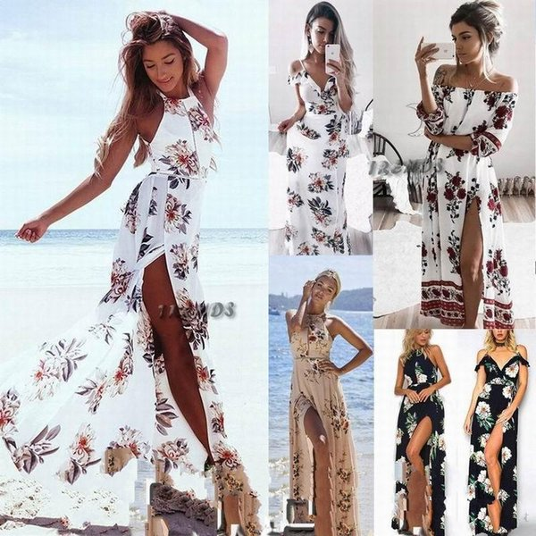 Dress Womens Holiday Sleeveless Ladies Maxi Long Summer Floral Print Sexy V-Neck Beach Dress Size 6-14 Swimwear For Women