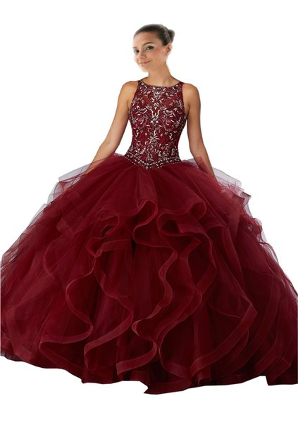 Vintage Wine Red ball Gowns Embroidery Quinceanera Prom Dresses Sheer Neck Ruffles Tulle Keyhole Back Corset Evening Formal Gowns Long
