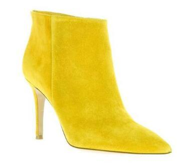 2018 fashion Autumn Winter Women Ankle Boots high heels suede leather booties yellow point toe party shoes new motorcycle bota