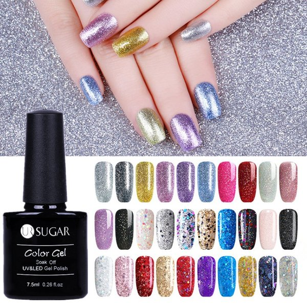 UR SUGAR 6 Pcs Glitter Gel Varnish Set 110 Pure Colors Diamond Long-Lasting Soak Off UV Gel Nail Art Polish Lacquer Kits