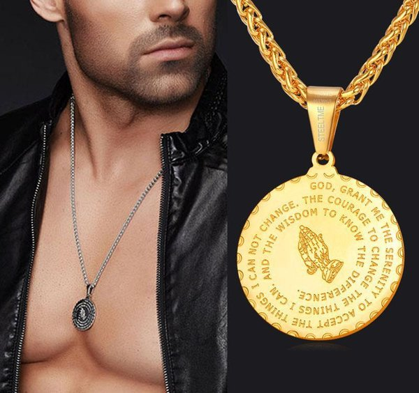 Men Jewelry Praying Hands And Bible Verse Pendant Necklace With Wheat Chain For Men 18K Gold Plated/Stainless Steel KKA1829