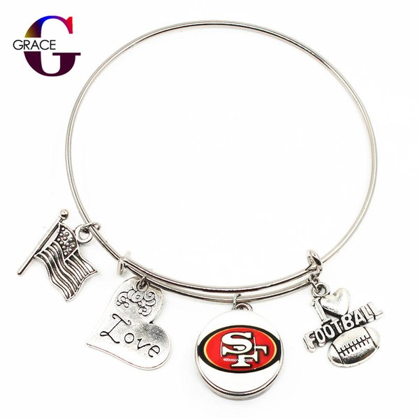 Football Sports Charms Adjustable I Love Football Expandable Women&Men Bangle Bracelets With Glass Snaps Buttons Jewelry