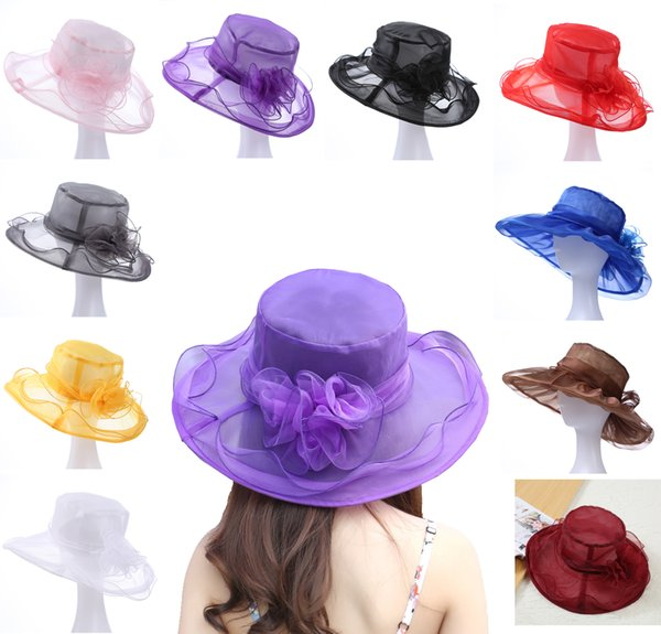 Princess hats woman sun hats organza wide brim hats for girls beautiful euro styles