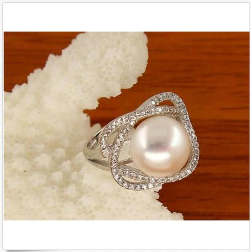 Perfect AAA++ 11-12 MM South Sea White Silver Pearl Ring + Box