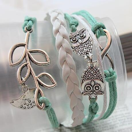 Owls & Lucky Branch/Leaf and Lovely Bird Charm Bracelet in Silver - Mint Green Wax Cords and Leather Braid