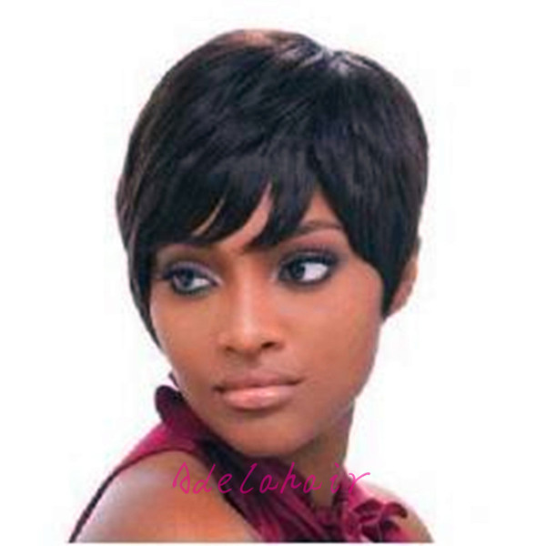 2018 New Pixie Cut cheap Human Hair Wig Rihanna Black Machine made Short Cut Wigs For Black Women African American Celebrity Wigs