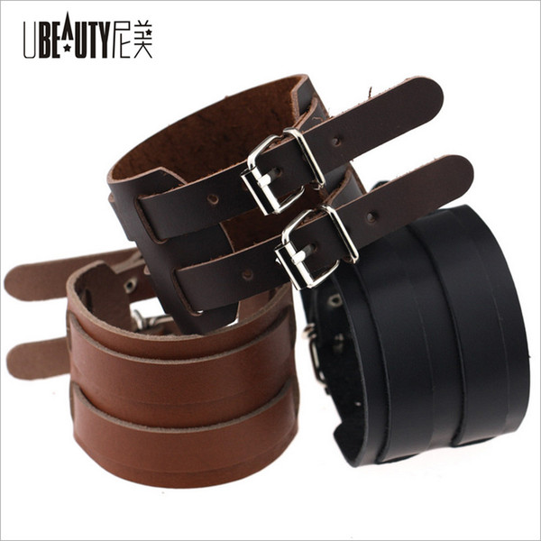 Bracelet Style Cow-Boy Bracelet Noir / Brun Double Large Wrap En Cuir Bracelet Boucle Bracelet Hommes Manchette Bracelets Punk Bijoux