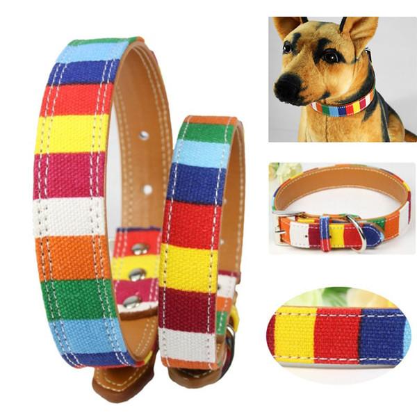Nave arcobaleno in pelle collare per cani da compagnia S M L XL 2XL Collo liscio pelle colorata con fibbia per gatti cane WX9-682