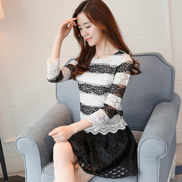 2019 Autumn Style Women Tops Black And White Lace Blouse Femme Shirts Hollow Out Long Sleeve Striped Women Blusas Dentelle