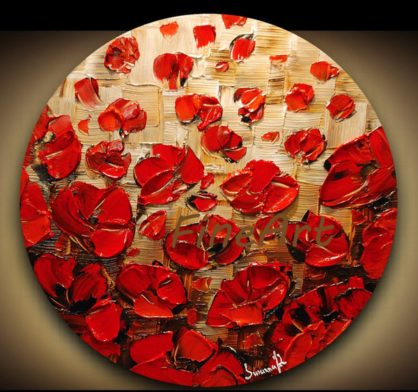 Palette Knife Oil Painting Red poppy floral canvas art modern art deco the decorative painting unique gift Kungfu Art