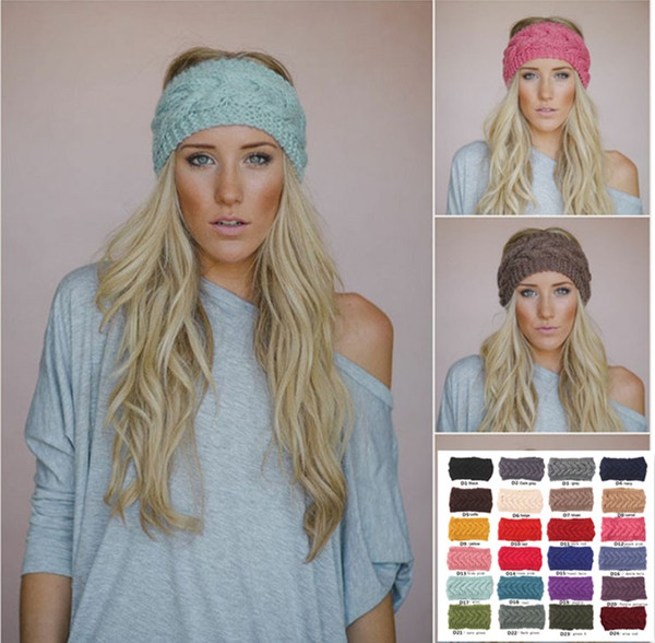 Popular Designer Crochet Headband 24 Colors Wool Crochet Headband Knit Hair band Winter Warm headbands Girls Headwrap Ear Muffs