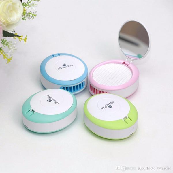 Kompakte Größe Frauen Mini Fan Kosmetikspiegel USB Wiederaufladbare Lüfter Wimpern Ventilator Trockner Gebläse Mit Kosmetikspiegel