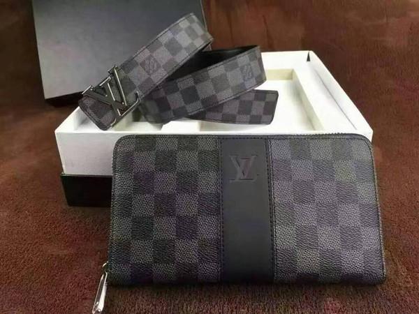 2019 HOT SALE Men Brand Long Wallet Zipper Clutch Purse Card BELT Two-piece suit WALLETS PURSE Mini Clutches Exotics EVENING CHAIN Belt Bags