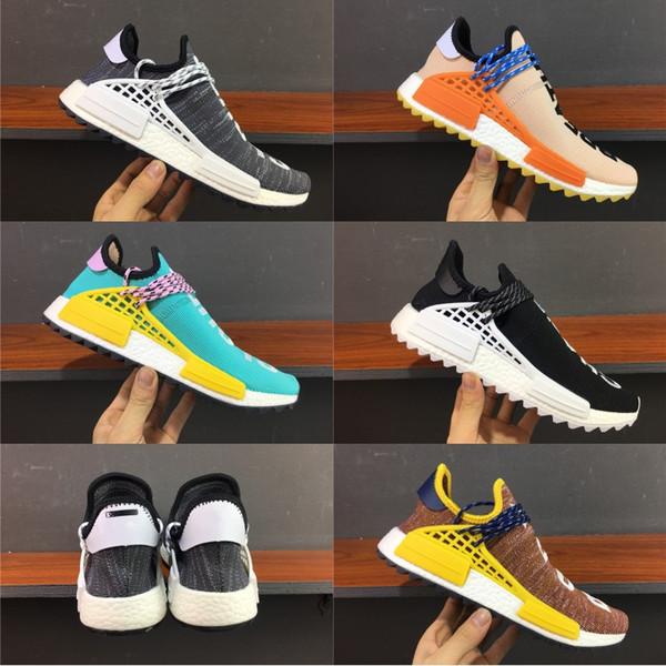 2019 Wholesale Human Race Hu trail Laufschuhe Herren Damen Pharrell Williams Gelb edlen tintenkern Schwarz Rot Runner designer Sneaker Schuhe