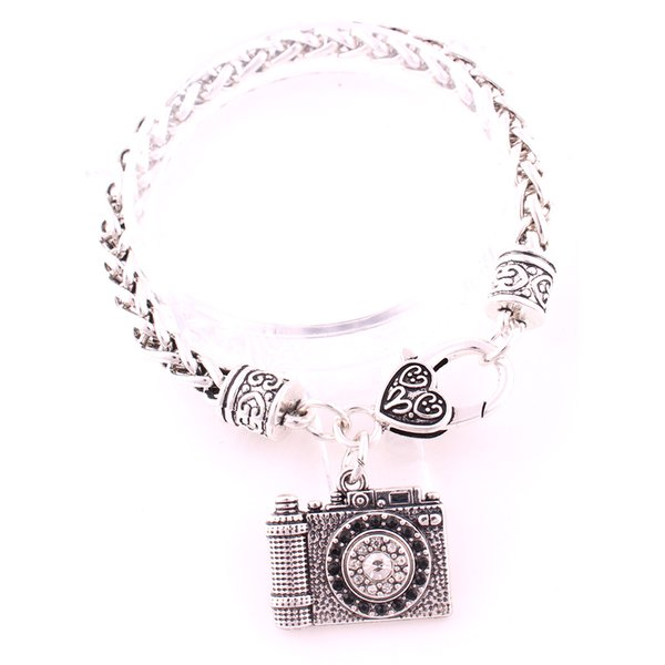 21mm*24.5mm Antique Silver Plated Zinc Studded With Sparkling Crystals Travel Camera Pendant Charm Wheat Link Bracelet Jewelry Gift