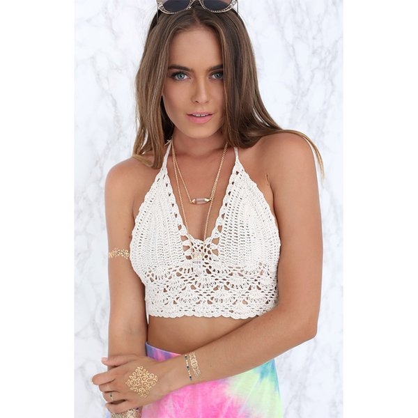 2018 Summer New Women Handmade Crochet Sexy Bikini Bra Top Swimsuit Yoga Top Beach Swimwear
