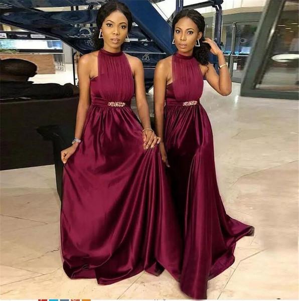 Burgundy Grape African Nigeria Bridesmaid Dresses Halter Neck A Line Pleats Belt Maid of Honor Gowns Plus Size Cheap