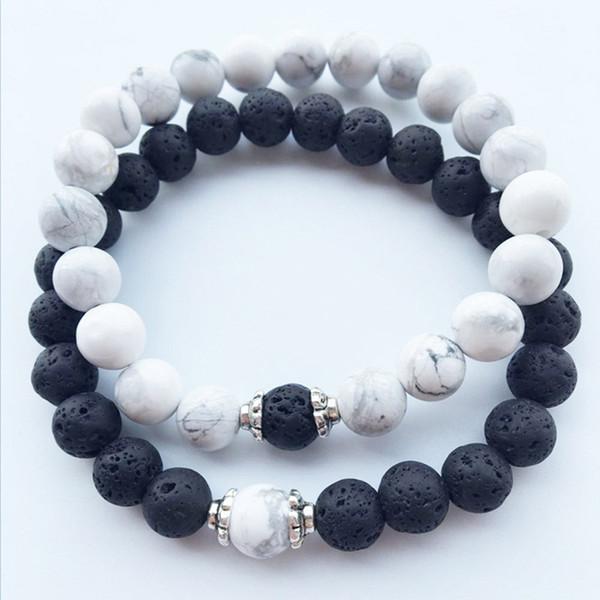 2 Pcs/Set Black White Couple Distance Bracelet Charms Yoga Meditation Braclet For Men Women Lovers Best Friend Jewelry Gift