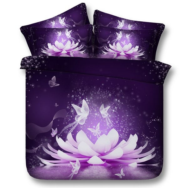 3D galaxy Duvet Cover purple lotus bedding sets queen floral Bedspreads Holiday Quilt Covers Bed Linen Pillow Covers comforter cover