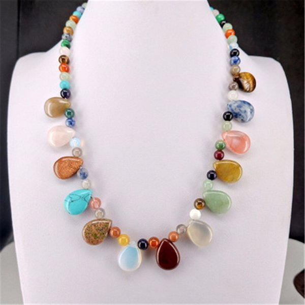 Druzy Personality Fashion Natural Crystal Stone Round Beads String Waterdrop Pendant Necklace Colorful Energy Healing Necklace