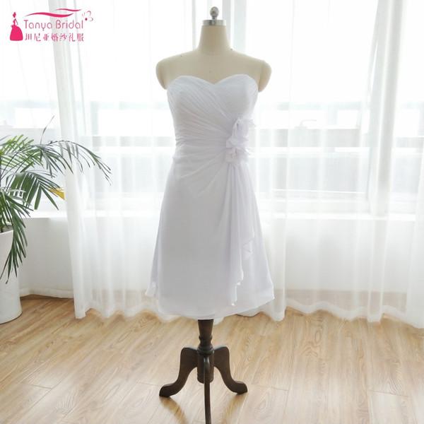 A Line Lavender Short Knee Length Bridesmaid Dresses White Beach Chiffon Cheap Dress vestido de festa Brides maid Gowns DQG069