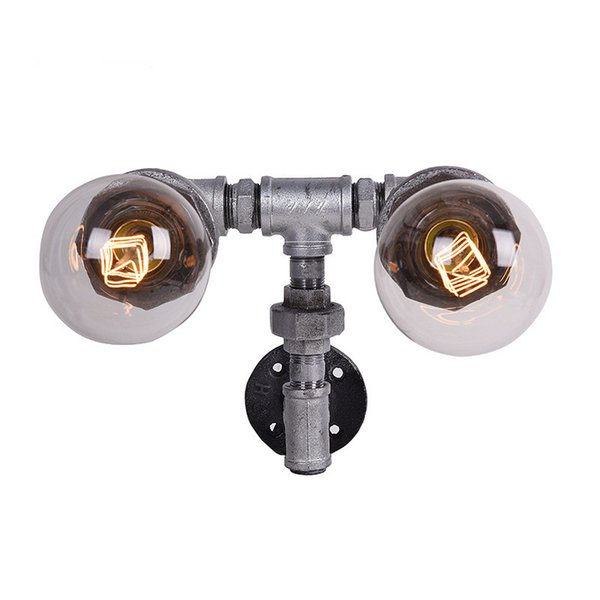 Loft Style Retro Water Pipe Wall Lamp Vintage Aisle Lights Loft Iron Rust brown Color Rural Restoring Ancient Ways