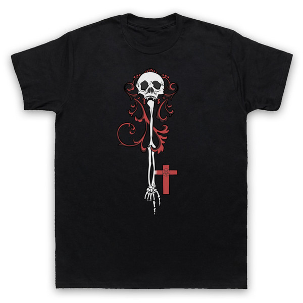 Llave esquelética Gótico Ilustración Horror Pentagram Hombre Mujeres Mujeres Camiseta Camiseta Homme Camiseta Hombres Divertido