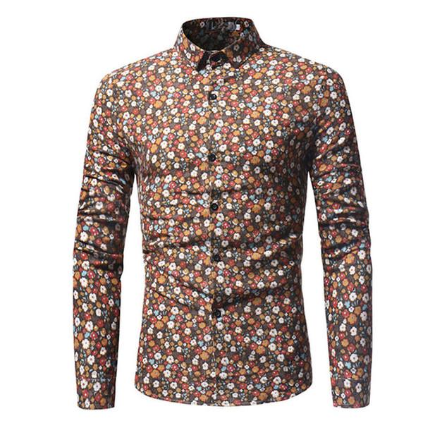 Camicia da uomo floreale Camicia da festa per la cena Camicie da ragazzo Fashion Flower stampate Slim Top Primavera New Tide Man Club Abbigliamento manica lunga