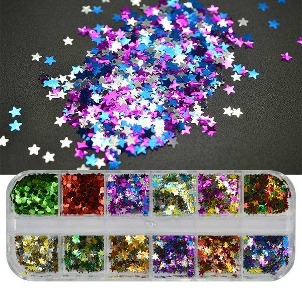 1 Case Nail Glitter Sequins Star Mini Round Shape Shiny Color Mixed Nail Sparkle Flakes Manicure Art Decorations SA113