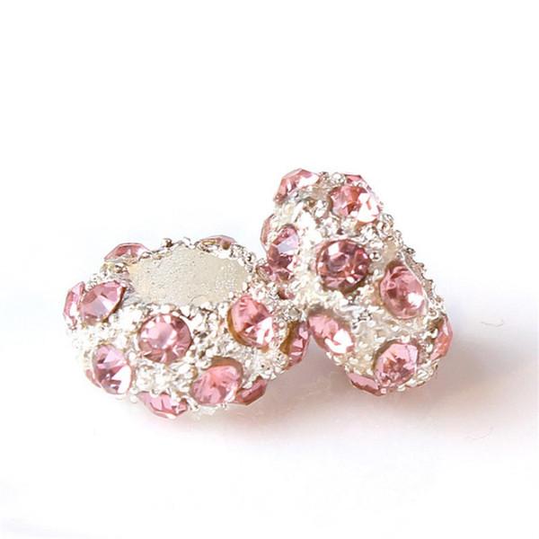 Pfirsich und weißer Kristallraum-Charme-Korn-großes Loch-Art- und Weisefrauen-Schmucksache-europäische Art für Pandora-Armband-Halskette Neue Ankunft