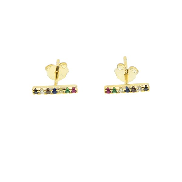 gold color 100% 925 sterling silver tiny mini cute girls jewelry rainbow cz colorful thin bar delicate 925 silver stud earring