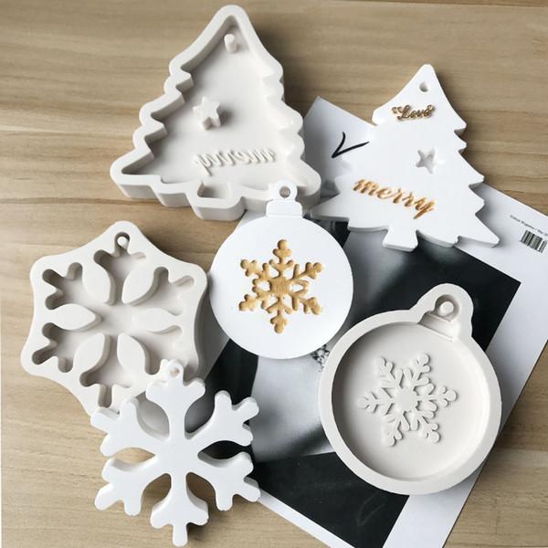 Noel ağacı kar taneleri balmumu kalıpları ev dekorasyon silikon sabun kalıpları