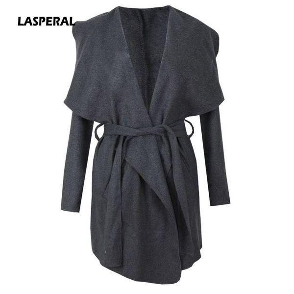 LASPERAL 2017 Mujer Larga Mezcla de Lana Trench Coat Otoño Invierno Mujeres Cuello de Solapa Abrigo Con Cinturón Outwear Femme Coat Z30