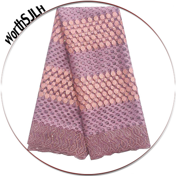 best selling WorthSJLH Lilac African Lace Fabric 2018 High Quality Swiss French Guipure Lace Fabric Gold Nigerian African Net Lace