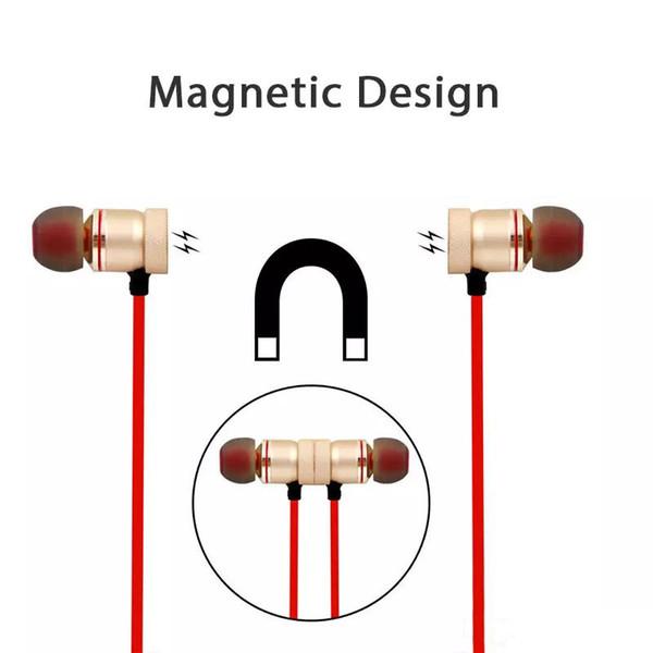 Kablosuz Bluetooth kulaklıklar Spor Koşu Manyetik kulaklık Kulaklık Mic Ile MP3 Kulakiçi BT 4.1 Üst