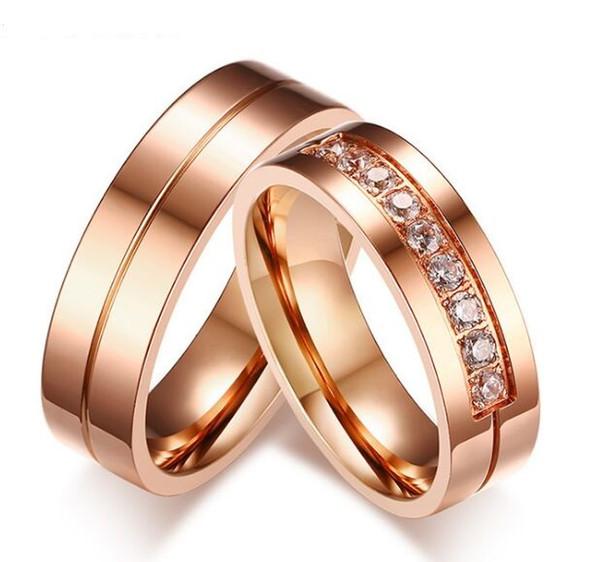 Anillo de bodas de oro rosa de 6 mm de color 316l acero inoxidable anillo de pareja / alianzas de boda anillos para mujeres / hombres amor acero inoxidable CZ joyería de la promesa