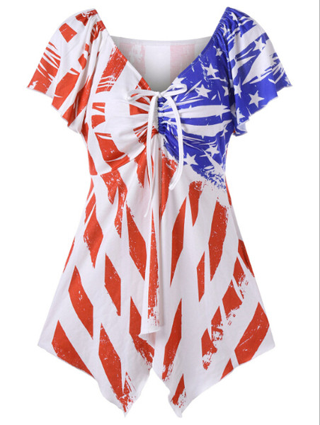 American Flag Printing Dress Bow Tie T-shirt Skirt Strip And Stars Printing Ladies Casual Dresses