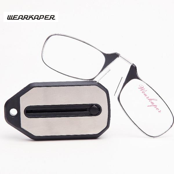 WEARKAPER nuevo Mini Gafas Plegables de Lectura Gafas de Titanio Hombres Gafas de Grau Con llavero Caja Original 1.0 1.5 2.0 2.5 3.0