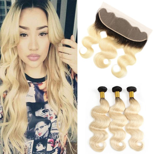 Brazilian Blonde Hair Weave With 13x4 Lace Frontal Closure 1B/613# Ombre Body Wave Remy Human Hair Bundles With Lace Band Frontal