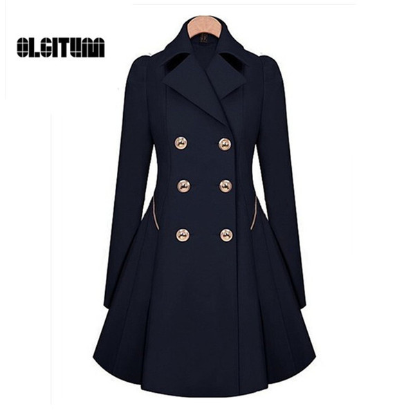 Großhandels-Winter Trenchcoat 2017 heißer Verkaufs-Frauen-Mantel-klassische Taille war dünner Mantel Windbreaker-Frauen-Graben-weiblicher langer Hülsen-Mantel