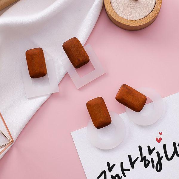 2018 Newest Trendy Korean Handmade Wooden Geometric Earrings Women Square Circle Drop Dangle Earring