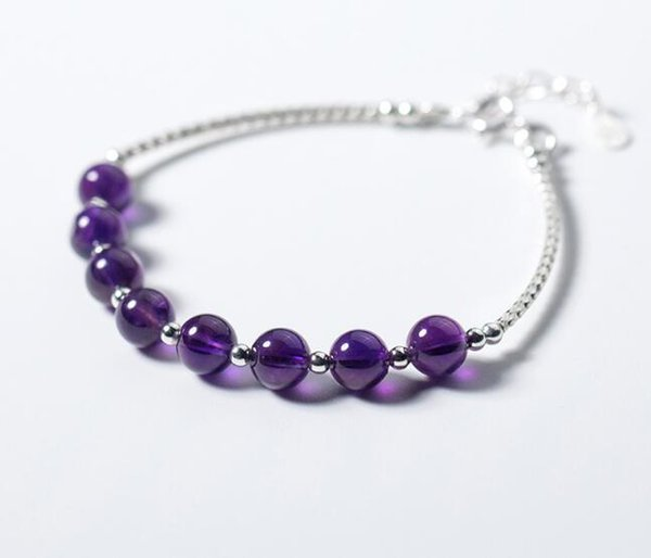 Real. 925 Sterling Silver Fine Jewelry 6.5MM Natural Purple Amethyst Stone &Beads Chain Bracelet GTLS513