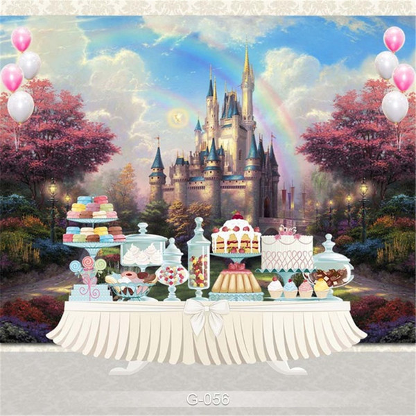 Vintage Castle Rainbow Princess Photography Backdrops Fairy Tale Wonderland Trees Wedding Birthday Party Photo Booth Backgrounds