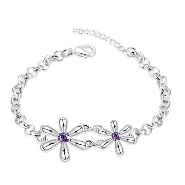 Good A++!Flower type bracelet is popula sterling silver plated bracelet SPB433;high quatity fashion men and women 925 silver Charm Bracelets
