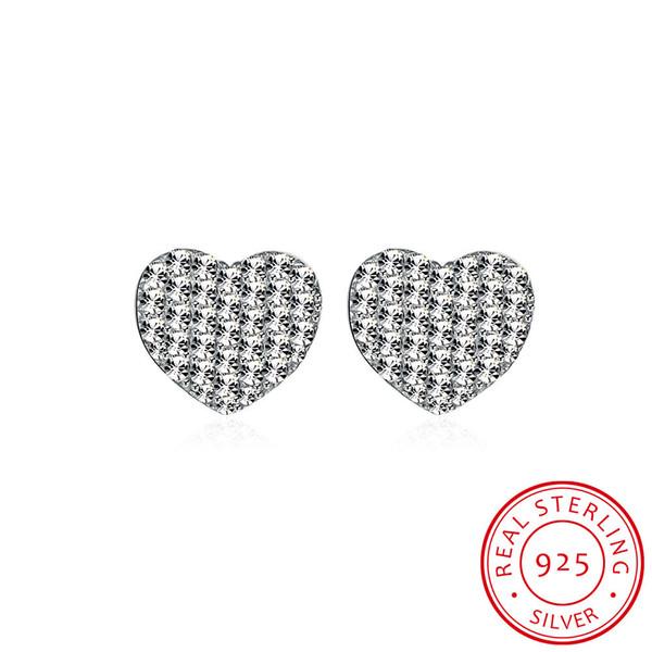 Real 925 Sterling Silver Stud Earrings , Mark 925 Party Heart Shaped Simple Earrings Zircon Free Shipping e057