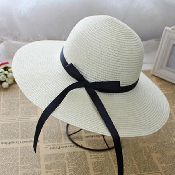 54684c138 BONJEAN Hot Sale Summer Sun Hats For Women Beach Hat Cap UV Protect Large  Brim With Ribbons Bow Ladies Sun Hat Feminino Chapeu Hat Store Fedora Hats  ...