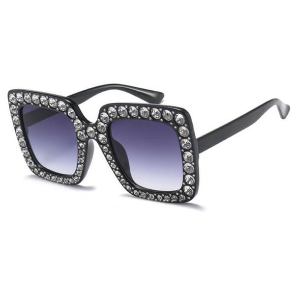 Fashion Women Square Sunglasses Brand Designer Luxury rhinestone Sun Glasses High Quality Shades Oculos Free Shipping