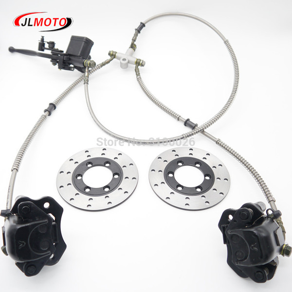 best selling 1Set 2 in 1 Front Handle Lever Hydraulic Disc Brake 130mm Disc Fit For ATV 350cc 200cc 250cc Bike Go Kart Buggy Scooter Parts