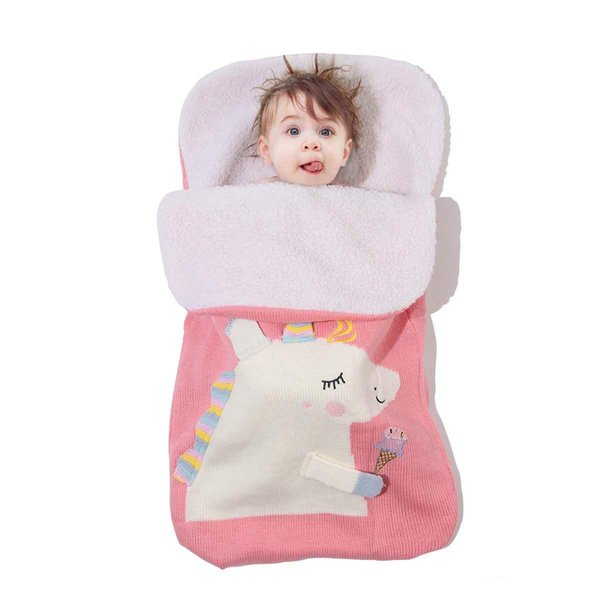 Brand New Toddler Infant Newborn Baby Blanket Pram Cot Bed Moses Basket Crib Unicorn Knit swaddling Cartoon fleece warm winter Sleeping Bag